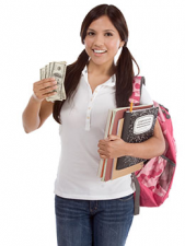 student with cash